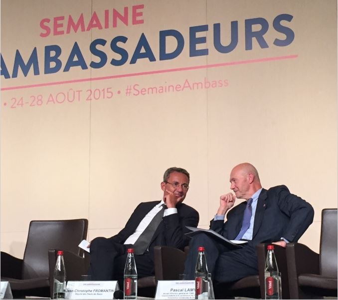 Pascal LAMY, Inter-ministerial Delegate to France's candidacy for the 2025 World Expo, with Jean-Christophe FROMANTIN, President of EXPOFRANCE 2025